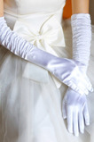 Biały Pełny Palec Ciepłe Taffeta Frills Cienkie Rękawice Do Ślubu