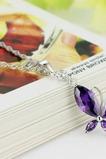 Moda purpurowy inkrustowany diamentem Insect Silver Necklace