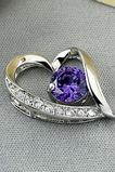 Purpurowy Srebrny W kształcie serca Krystalicznie diament Biżuteria Naszyjnik Kobiet