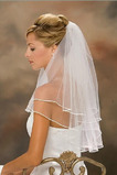 Wedding Veil Fall Satyna Tiered Ivory With Comb Simple