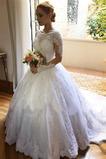 Długi rękaw Klejnot Linia A Latem Średni Skromny Sukienka ślubne
