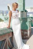 Syrena Bez rękawów Przycisk Naturalne talii Sukienka ślubne