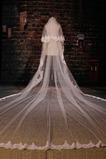 Wedding Veil Ceremonial Winter Trail Long Fabric Koronkowy