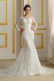 Długi rękaw Nasuwki złudzenia Naturalny talia Sukienka ślubne