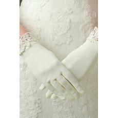 Kość słoniowa Odpowiednie Koronki Satinowe Krótkie Rękawiczki Ślubne
