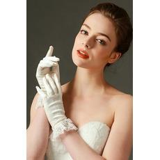 Ślubne Rękawiczki Pełne Palec Koronki Kości Słoniowej Krótka Wiosna Mody