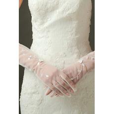 Sexy Transucent Sexy Ślubne Rękawiczki Długie Cienie Pełny palec