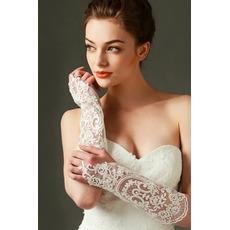 Rękawiczki ślubne z kości słoniowej Dekoracja koronki tkaniny Półprzezroczyste jesień
