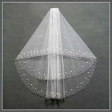 Szalik Z Karmazynowym Beading Biały Krótka Jesień Ślubna Veil