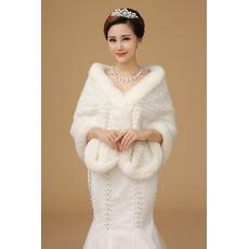 Sukienka zimowa Super długie gruby szalik ślubny z kości słoniowej