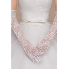 Ślubne Rękawiczki Koronki Tkaniny Koronki Ceremonia Pełny palec