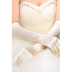 Ślubne Rękawiczki Podsumowanie Taffeta Long Church Pełny Finger Spring
