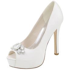 Buty wieczorowe buty ślubne z kryształu górskiego seksowne ryby usta wysokie szpilki buty ślubne szpilki sandały