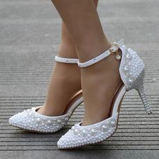 Sandały na obcasie zroszony sandały z kryształu górskiego białe buty ślubne