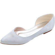 Szpiczaste czółenka satynowe płaskie buty na studniówkę codzienne obuwie damskie