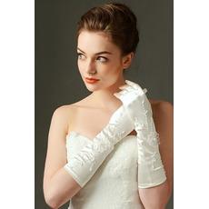 Rękawice ślubne Odpowiednie haftowane satynowe palce pełne