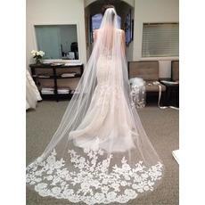 Wedding Veil Cold Lace Fabric Wiele kwiatów na ogonie