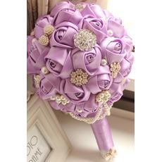 High end niestandardowe fioletowy temat wedding oblubienicy bukiet