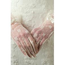 Ślubne Rękawice Pożądane Półprzezroczyste Krótkie Dekoracje Ivory