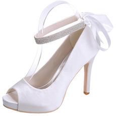 Satynowe buty ślubne sztylet rybie usta buty bankietowe buty na imprezę roczną