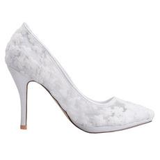 Wiosenne koronkowe płytkie szpiczaste pojedyncze buty haftowane kwiaty wysokie obcasy białe buty ślubne