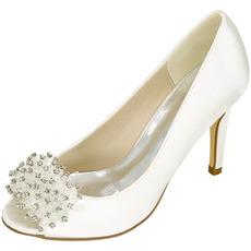 Ślubne buty damskie płytkie usta ryba głowa wysokie obcasy rhinestone pojedyncze buty druhna bankietowa sukienka sandały