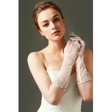 Ślubne rękawiczki Tulle Cade pożądane Pearl Autumn Pełny palec