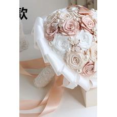 Pearl diament ręcznie panna młoda gospodarstwa kwiaty niestandardowe róże druhna bukiet