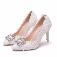 Rhinestone pojedyncze buty ślubne buty koronkowe buty na imprezę
