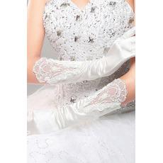 Ślubne Rękawice Czerwony Długi Jedwab Uroczysty Pełny palec Zimno