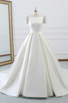 Krótki rękaw Koszulka rękaw Dekolt łódka Plaża Sukienka ślubne