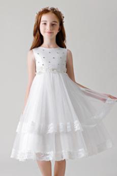 Linia A Wielowarstwowe Na suwak Ślub Klejnot Dzieci sukienka
