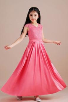 Na suwak Ograniczona rękawy Satyna elastyczna Dzieci sukienka