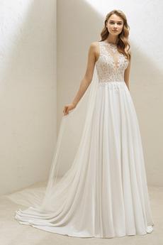 Koronka Naturalne talii Koronki Bez rękawów Sukienka ślubne