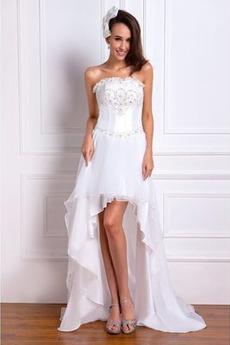 Bez ramiączek Klejnotami stanik Frezowanie Szyfon Sukienka ślubne