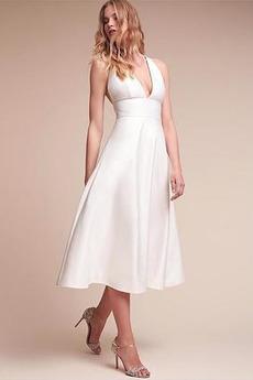 Bez pleców Bez rękawów Naturalne talii Satyna Sukienka ślubne