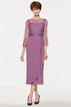 Elegancki Długość herbaty Płaszcz Ramiączkach Sukienka matki