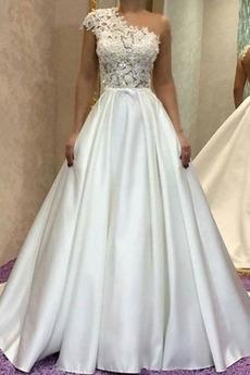 Formalny Sama z powrotem Na jedno ramię Asymetryczne Rękawy Sukienka ślubne