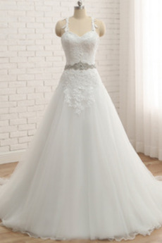 Koronki Ramiączkach Długi Odwrócony trójkąt Sukienka ślubne