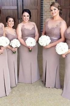 Ślub Naturalne talii Płaszcz Na suwak Przodu Split Sukienka dla Druhen