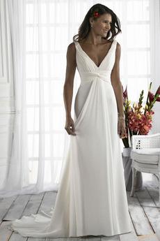 Plisowane Romantyczny Głęboki dekolt w serek Sukienka ślubne