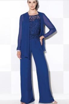 Naturalne talii Formalny Szyfon Z spodnie Sukienka matka garnitury