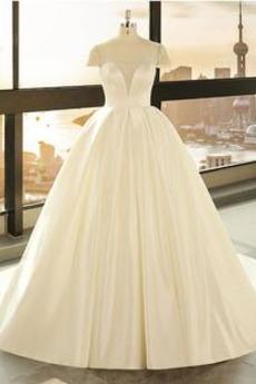 Długi Sznurowane V-dekolt Zimowy Linia A Kościelna Sukienka ślubne