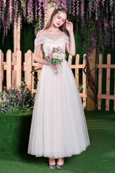Dew ramię Sznurowane Krótki rękaw Średni Wiosna Spódnica ślubne