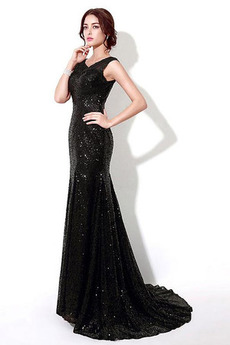 Długi Gwiaździsta Wysokie pokryte Naturalny talia Sukienka Cekiny