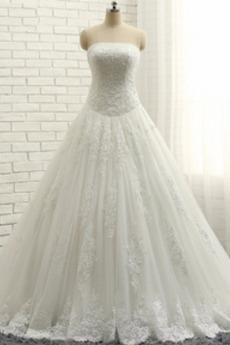 Bez ramiączek Naturalny talia Formalny Linia A Sukienka ślubne