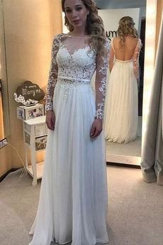 Długi rękaw Elegancki Naturalny talia Dekolt łódka Sukienka ślubne