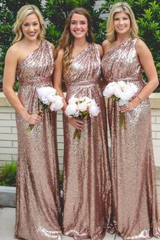 Na jedno ramię Trójkąt plecionka Cekinowe gorset Sukienka dla Druhen