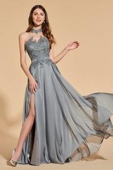 Bez pleców Naturalne talii Szyfon Wysoki szyi Sukienka na studniówkę