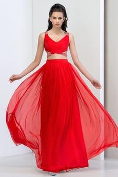 Naturalny talia Szyfon Wydajność Bez rękawów Sukienka na studniówkę